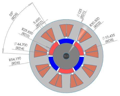 2D model of the BLDC motor at the its initial position