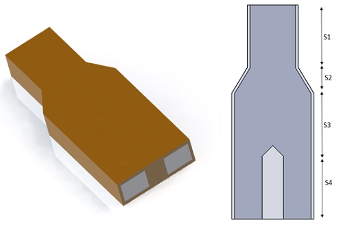 The 3D design of the studied power divider
