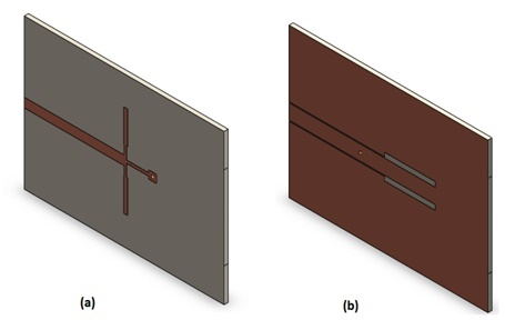 3D model of the transition from microstrip line to CPW