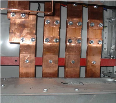 Busbars used to connect electrical feeders