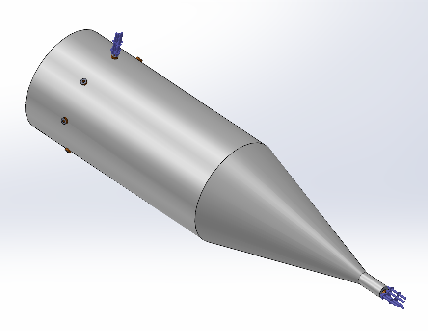 the structure's 3D view in SolidWorks (Input and one output port are indicated)