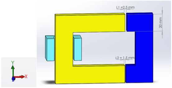 Model of one half of the magnetic circuit is created in SOLIDWORKS