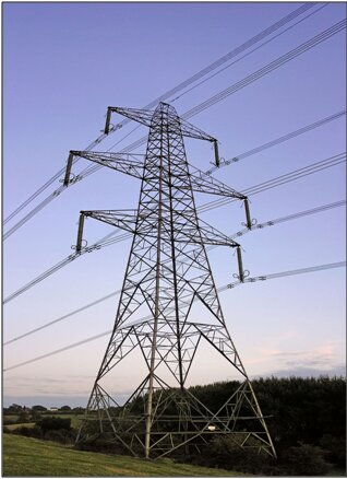 Overhead power line in Gloucestershire, England.