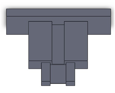 The 3D Solidworks model of straight ridge waveguide coupler