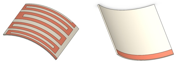 The geometry of bent antenna (top and bottom views).