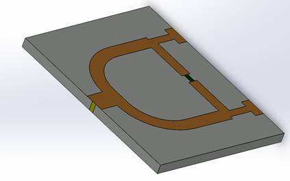 3D view of the modeled Wilkinson divider