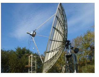The feed with parabolic reflector used for sun noise measurement [1]