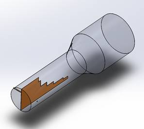 antenna 3D SolidWorks views (regular and transparent) [1]