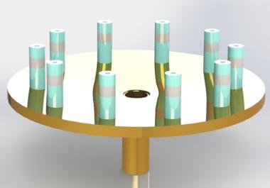 Ten Way Conical Power Combiner Simulation