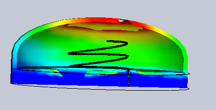 3D near field distribution of a dipole of the antenna at 2.45 GHz (Iso (left) and Section (right) Clipping)